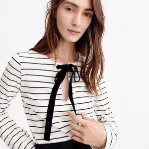J Crew | Long Sleeve Striped with Velvet Tie Shirt